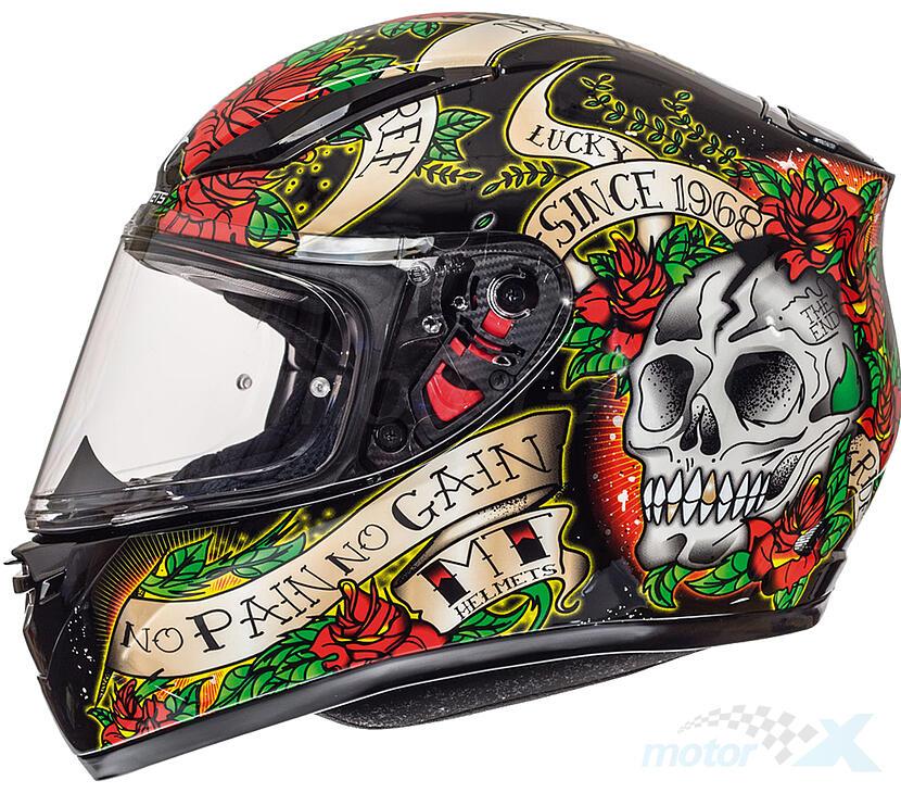 Kask integralny MT Revenge Skull & Rose Gloss Black Red 5 gwiazdek Sharp rozmiar L L (59/60)