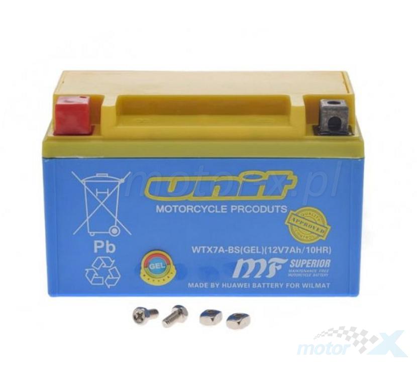 Akumulator żelowy Unit WTX7A-BS (YTX7A-BS) 150x87x94mm 12V 7Ah 90CCA