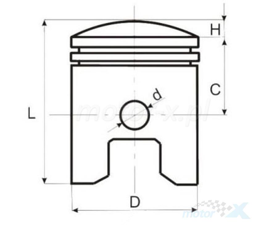 Tłok kompletny Piaggio Vespa Ciao (od 43.00mm do 44.00mm) [różne średnice]