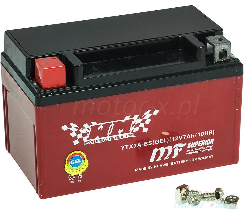 Akumulator żelowy WM Motor YTX7A-BS 150x87x94mm 12V 7Ah 90CCA