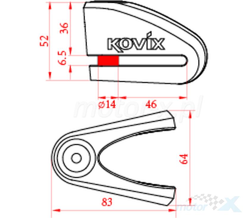 Blokada tarczy hamulcowej KOVIX KVZ2 żółta fluo